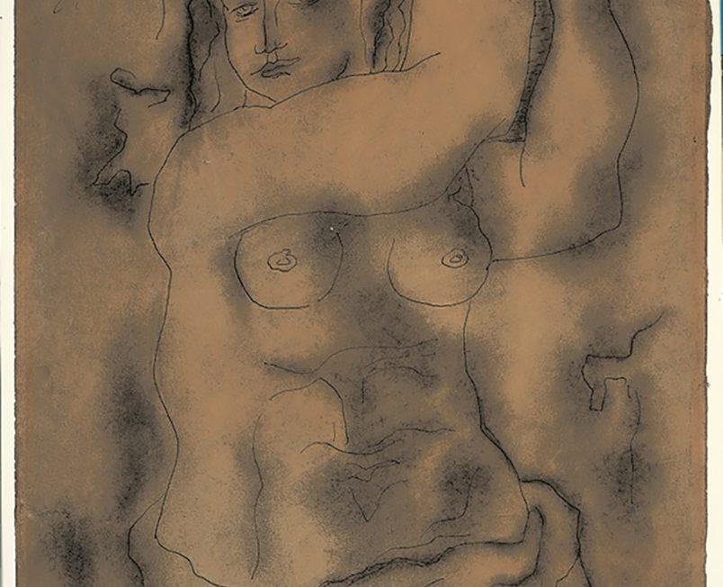 Femme nue portant une corbeille de raisins
