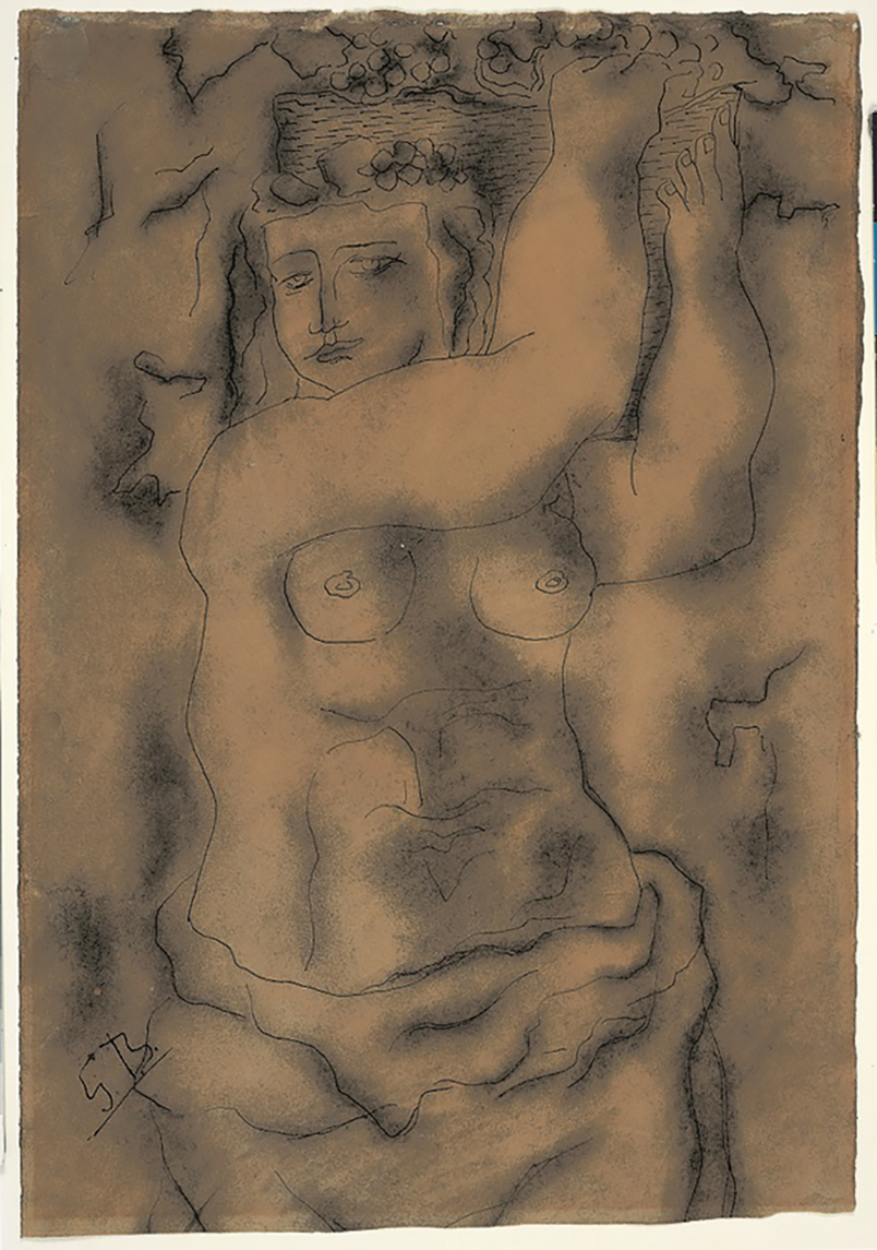 Schenkung 1982: Femme-nue-portant-une-corbeille-de-raisins